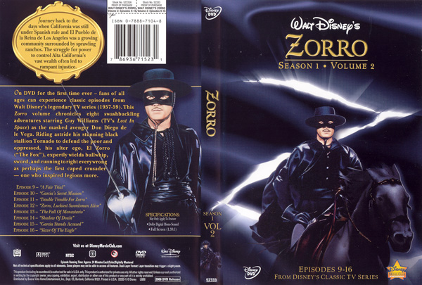 Zorro On Dvd The Disney Movie Club